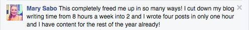 Facebook comment - Mary